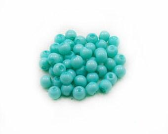 Turquoise Glass Beads, Glass Beads, Turquoise Beads, 6mm Glass Beads,  50 pcs Turquoise Beads, Jewelry Making, Graft Supplies