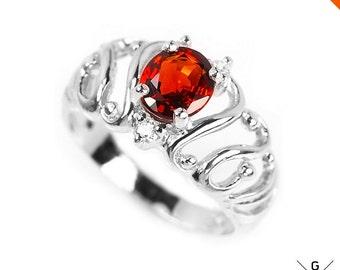 Spessartine Ring. Genuine Natural orange red Spessartine & white CZ sterling 925 silver jewelry ruby red gemstone Ring 6.75 see VIDEO