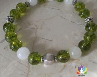 Peridot, jade white and silver Bali bracelet.