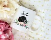 Smile Before I Shoot You Photographer Mug, Watercolor Floral Bouquet Sublimation Mug, 2 Sided