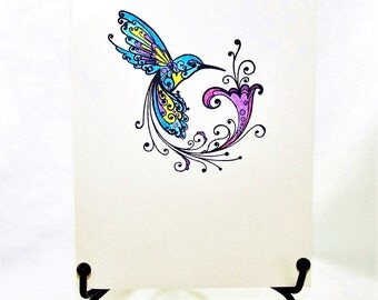 Hummingbird Swirl Card: Add a Greeting or Leave Blank