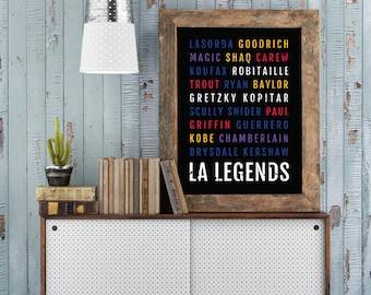 Los Angeles Legends Print - Lakers Man Cave Poster - LA Dodgers Print, Clippers Boyfriend Gift, Kings Wall Art, Husband Gift - Wall Art