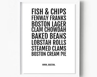 Boston Foods Print - Massachusetts Foodie Poster, Foodie Gifts, Kitchen Art, Gifts for Foodies, Lobster, Clams, Pie, Beer, Seafood Décor