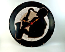 Sax, Wall clock, Vinyl Clock, Jazz, Hand Painted, Brown, Beige, Upcycled, Vintage, Vinyl Record Wall Décor, InsaneDotting