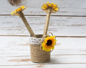 Guest Book Pen Holder Sunflower GuestBook Pens Rustic Holder Personalized Burlap
