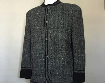 Tweed 'Brent' Wool Blend Jacket in Grey, Black and Beige/ Medium/ Casual Tailored
