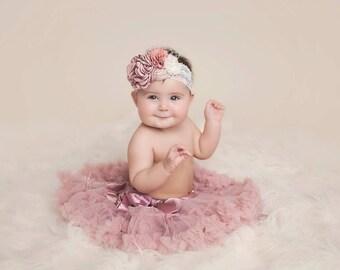 baby girl  headband, girl headband, couture headband, dusty rose headband, infant headband, fancy headband, lace headband, vintage headband