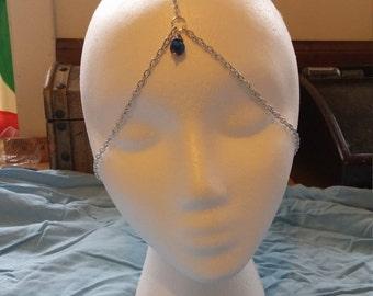 Silver Beaded Head Piece -Boho headband