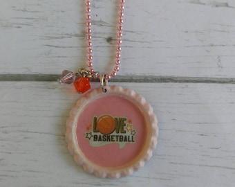 Girls Sports Jewelry// Bottlecap Necklace// Basketball Jewelry// Basketball Gift// Basketball Party Favor