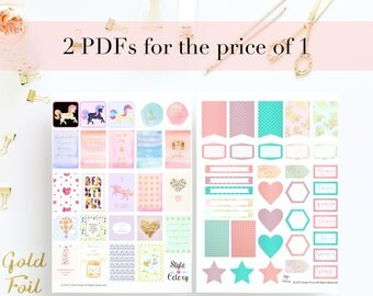 2 for 1 Premium Digital Printable Planner Stickers / Labels / Journal Cards in Kikki K Style with Unicorns Gold Foil and Quotes