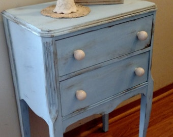 Baby Blue Chalk Painted Vintage Sewing/Craft Cabinet