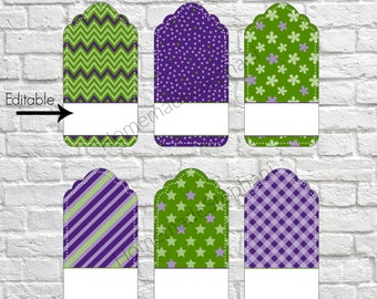 Printable Editable Gift Tags, bright gift tags, customizable gift tags, present tags, thank you gift tags, DIY gift tags - Purple Green