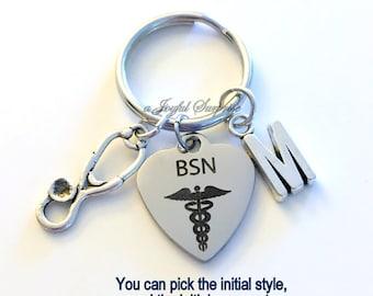 BSN Key Chain Gift for BSN Nurse KeyChain Nursing Keyring Man Men Male Woman Customized Initial Letter Monogram Birthday Christmas present