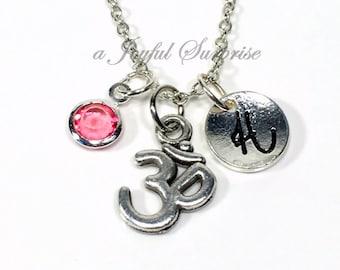 Om Necklace, Ohm Pendant, Medication Jewellry Silver Yoga Instructor Zen Gift for Pewter Charm Custom Initial Birthstone Buddha spiritual