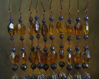 Beaded Autumn Ornament #1 set of 10 in Faux Amber and Faceted Glass Crystal