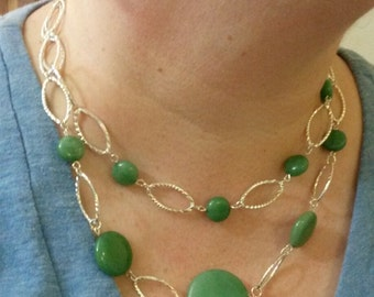 Enchanting Aventurine Earring and Necklace Set