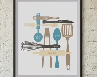 Kitchen Utensils - Digital Print - Sky Blue - 16x20
