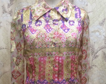 Vintage 1970s Gold, Pink and OPurple Metal Thread Blouse/Boho Blouse