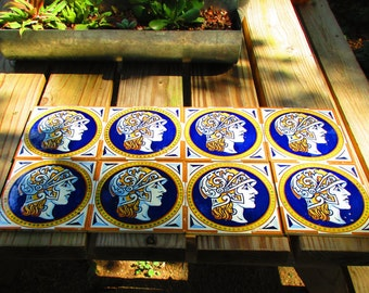8 Handpainted Rare Vintage Spanish Tiles- Cedolesa Roman/Greek Portrait
