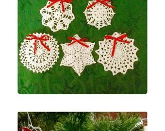 White Crochet Snowflakes set of 8 Christmas Decor Lace Snowflakes Christmas Ornaments Winter Decorations Modern Wall Art Christmas gifts