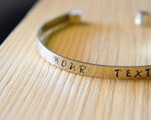 Personalized hand stamped bracelet, white metal Alpakas, your text, your message, stamped bangle, gift for her