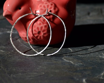 Silver Hammered Hoop Earrings, Silver Hoop Earrings, Simple Hoops 1""