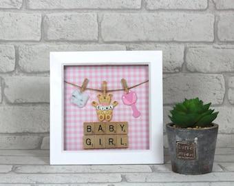 Baby girl gift - Newborn gift - Unique baby girl gift - Baby shower gift - Nursery decor - Keepsake frame - Present for baby girl