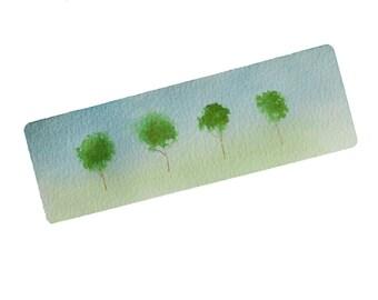 hand painted watercolor bookmark laminated unique bookmark landscape painting bookmark handmade bookmark bookworm gift minimalist bookmark