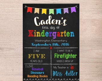 First day of Kindergarten Sign, First Day of School Sign, Boy Girl, Preschool, Chalkboard Poster, 1st Day of School, Printable, Any Grade