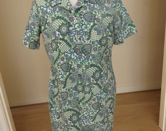vintage 70s paisley print shirt waister dress 12 14 green