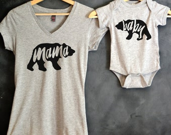 Mama Bear + Baby Bear T-shirt Package, Mama Bear V-Neck T-shirt, Baby Bear Bodysuit, Baby Bear Shirt, Baby shower gift, Mothers day gift