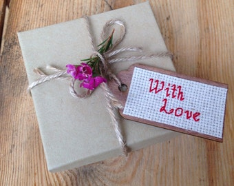 With Love Gift Tag, Cross Stitch Art, Wooden Gift Tag