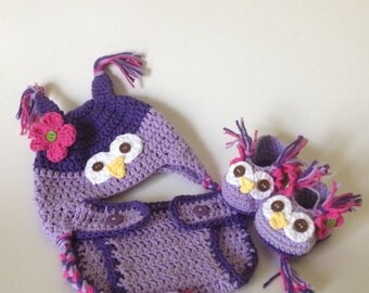 Baby owl hat booties and diaper cover set, baby shower gift