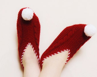 Christmas Slipper,Womens Slippers, Red Knitted Slippers with Pompoms, Cable Knit House Shoes, Slippers Socks