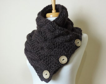 Chunky Hand Knit Scarf in Dark Brown, Buttoned Cowl Scarf, Chunky Button Neck Warmer, Knitted Cable Cowl Scarf