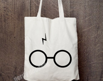 HARRY POTTER Inspired Canvas Tote Bag, Harry Potter Scar and Glasses Tote Bag, Harry Potter Market Bag, Eco Friendly Bag