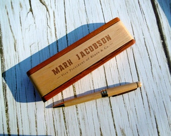 Personalized Pen Box with Pen, Custom Pen Case, Engraved Pen Holder, Graduation, Father's Day, Executive, Corporate, New Job, Career,Pen Set