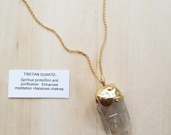 Tibetan Quartz Gemstone Necklace Unique Handmade Jewelry