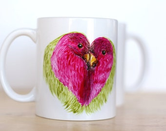 Love Birds Mug- Handpainted Mug- Mug Gift For Her- Valentines Day Mug- Nature Mug- Love Mug- Christmas Gift-Coffee Lover Gift- Birthday Gift