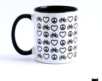 Peace, Love, Bike Mug with black interior