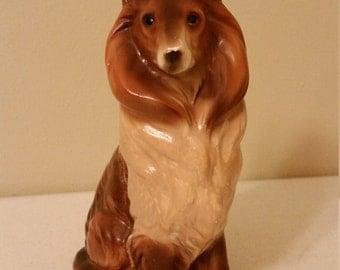 "vintage japan porcelain boarder seated collie dog figurine - ceramic lassie figure 6.5"" tall - statue canine knick knack antique pet figure"