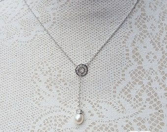Sterling Silver Lariat Necklace with a Sparkling Slider and a Freshwater Pearl