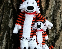 Crochet tiger Hobbes inspired by Calvin and Hobbes – Knitted amigurumi tiger toy Hobbsy – Huggable stuffed animal - gift for kids