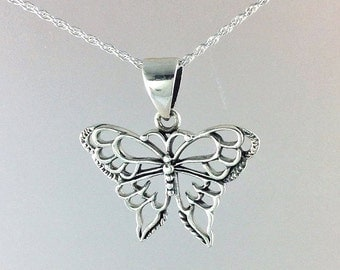 Butterfly Necklace~ Sterling Silver Butterfly Pendant~Uniquely Designed Butterfly Necklace~Silver Butterfly Jewelry~Gift for Her