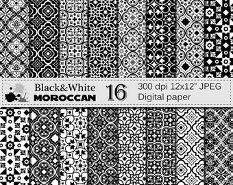 Black and White Moroccan Digital Paper Set,  Black White Ornamental Scrapbook Digital Papers, Ethnic, Moroccan Instant Digital Download