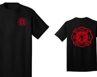 Black Cotton Fire Fighter shirt with Red Maltese Cross  Fire Fighter shirt makes a nice gift for firefighters