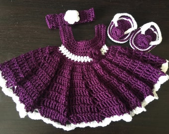 Crocheted baby girl outfit set