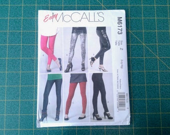 Easy Leggings Sewing Pattern by McCall's M6173, legging pattern with waistband, mock fly, ruched legs or zippers, large or XL