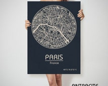 PARIS France map City Street Map Art Print Poster City Graphical Map Wall Art Perfect Gift Home Decor Gift
