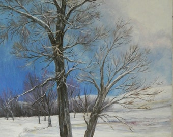 """Winter on the Prairie, Oil on wood panel, 28"""" x 30"""" x 1 1/2"""", by Patricia Baehr-Ross"""